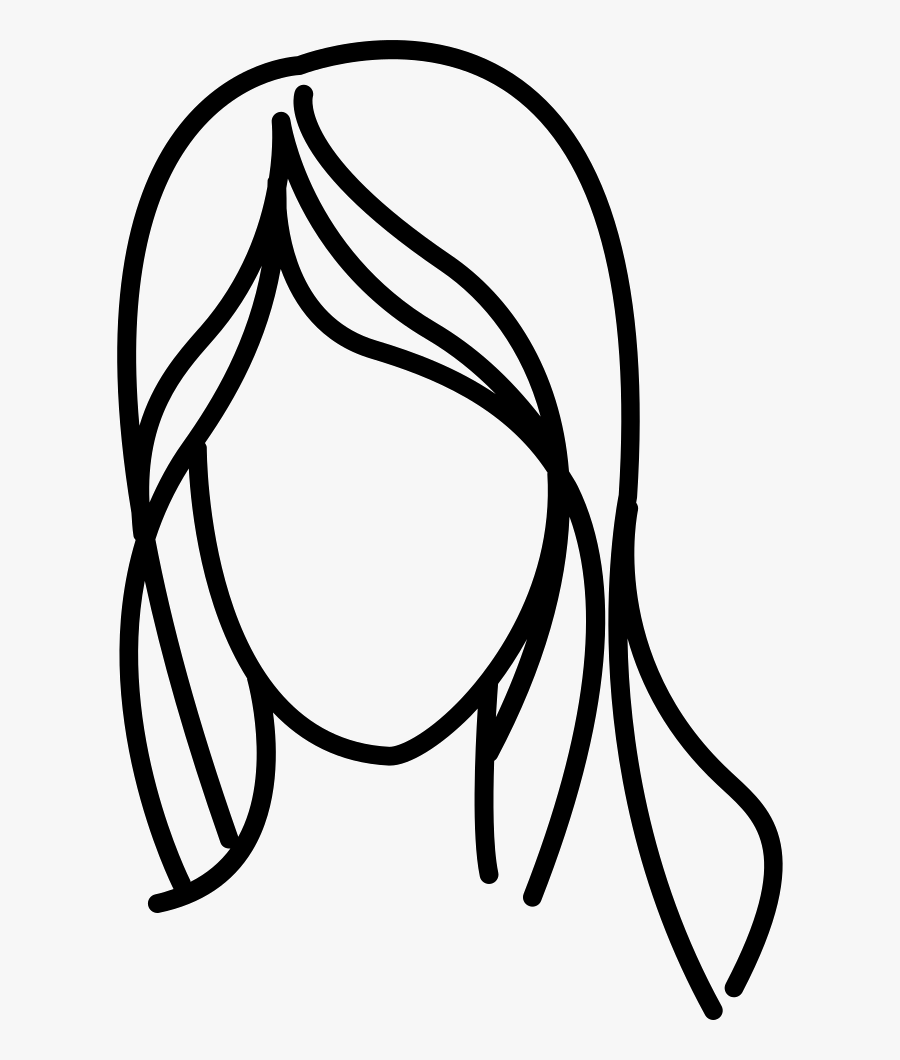 Female With Long Wavy - Line Drawing Hair Outline, Transparent Clipart