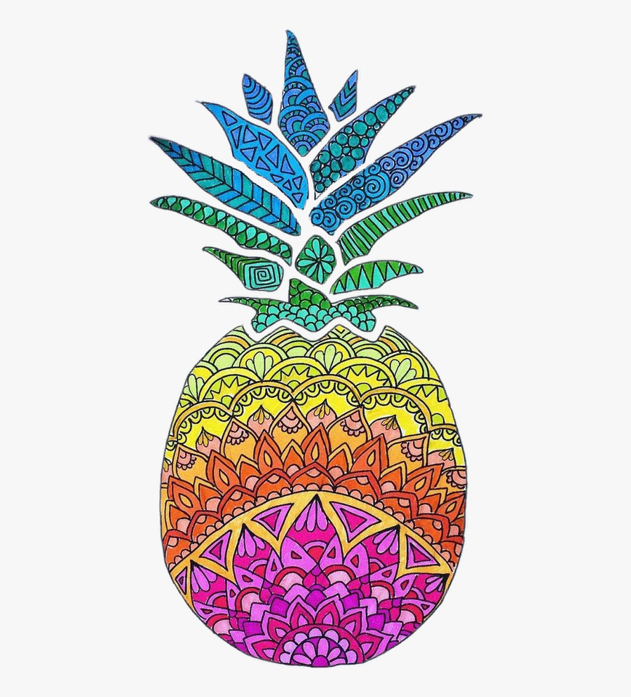 Freetoedit Pineapples Colorful - Rainbow Pineapple Drawing ...