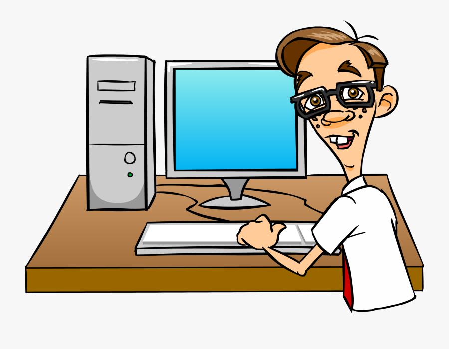 Microsoft Clipart Windows Computer - Cartoon Nerd On Computer, Transparent Clipart