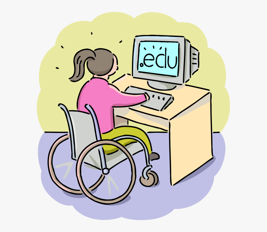 Classroom Vector Classmate - Girl Handicapped Using Pc Clipart, Transparent Clipart