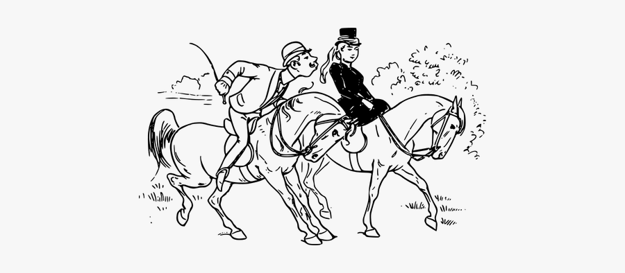 Vector Image Of A Riding Couple - Horse Outline, Transparent Clipart
