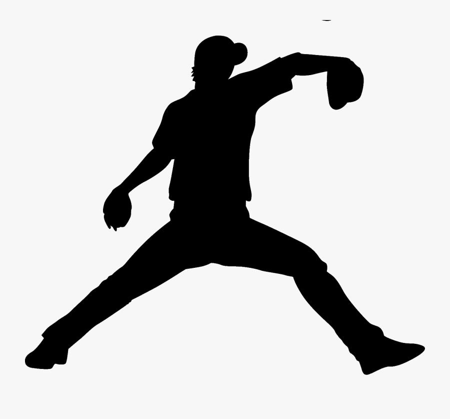 Baseball Player Batting Pitcher - Baseball Player Silhouette Pitcher, Transparent Clipart