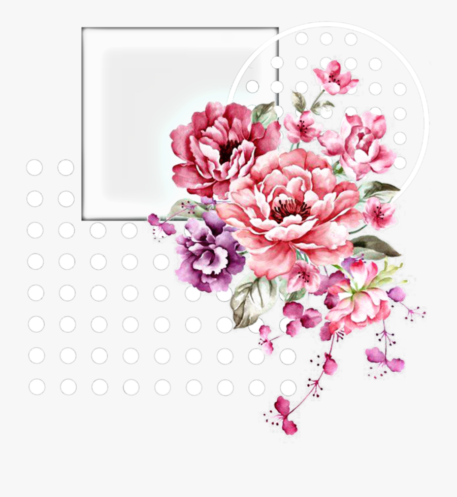 #shapes #frame #shapes #cadre #aesthetic #white #blanc - Pink Watercolor Flowers Png, Transparent Clipart