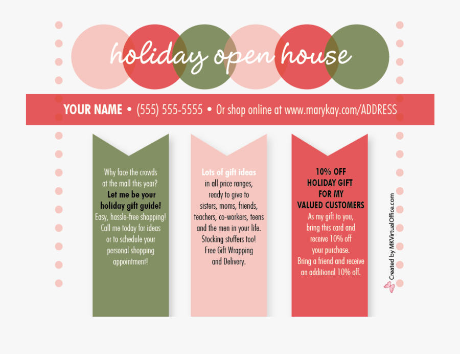 Transparent Mary Kay Clipart - Holiday Shopping Open House Invitations, Transparent Clipart