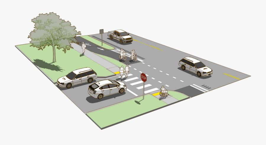 Path Clipart City Road - Separated Bike Lane Design, Transparent Clipart