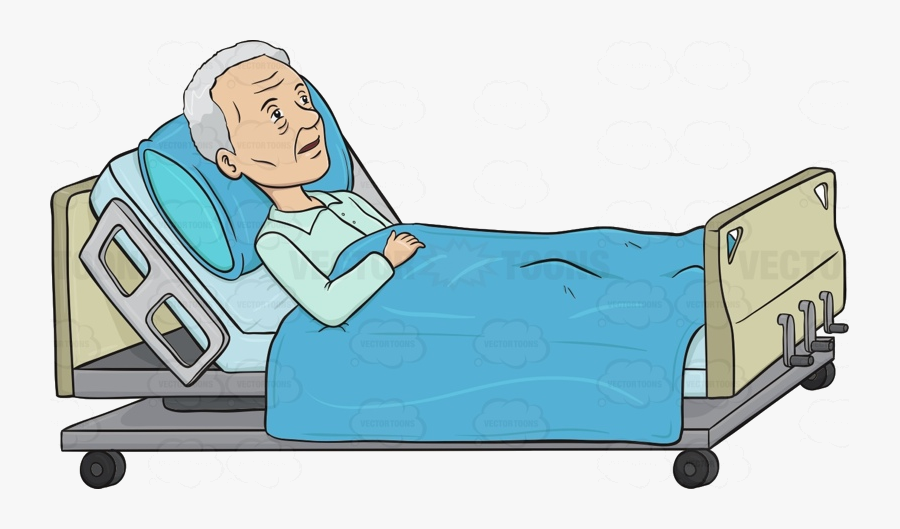 Sick Person In Hospital Bed Transparent Png - Patient On Bed Cartoon, Transparent Clipart