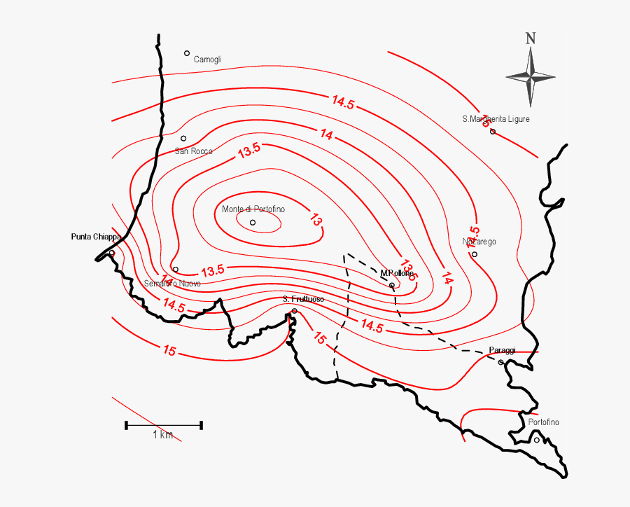 Isotherm Map Of Portofino Promontory, Transparent Clipart