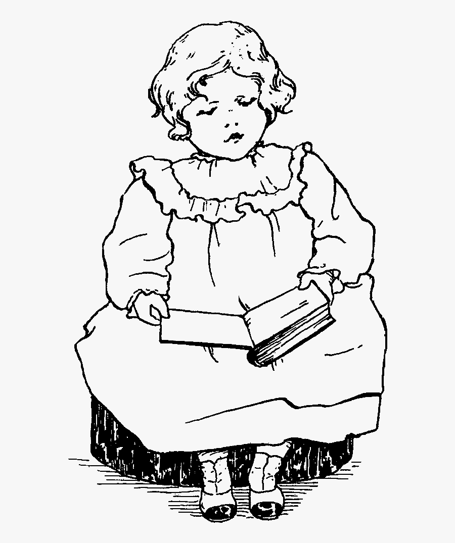 Girl Reading Image - Girl Reading A Book Printable, Transparent Clipart