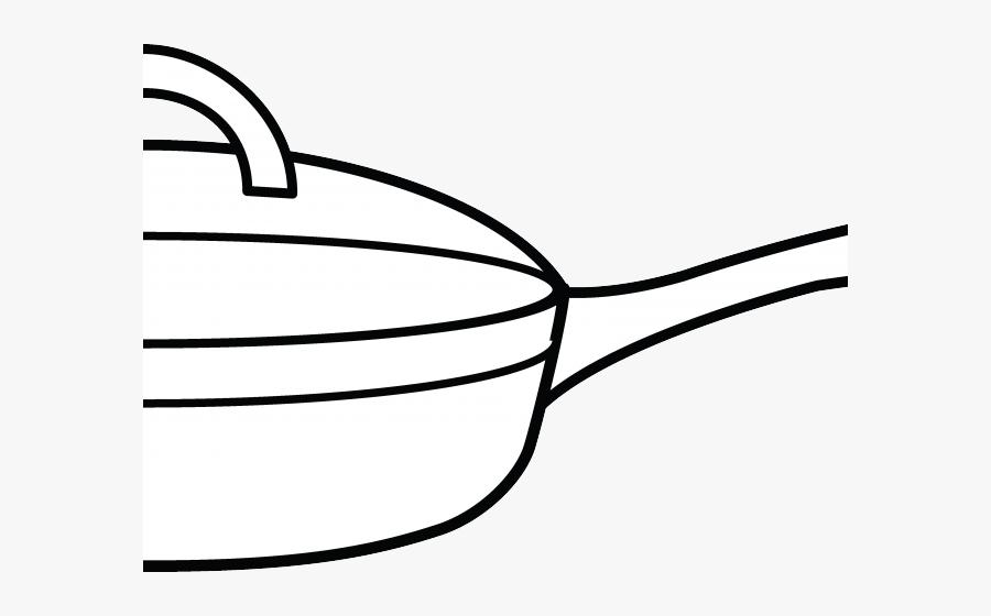 Frying Pan Clipart Coloring Page - Line Art, Transparent Clipart