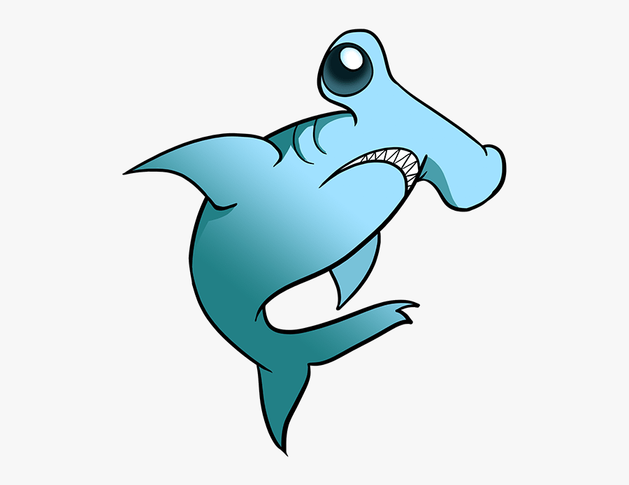 How To Draw Hammerhead Shark - Cartoon Hammerhead Shark Drawing, Transparent Clipart