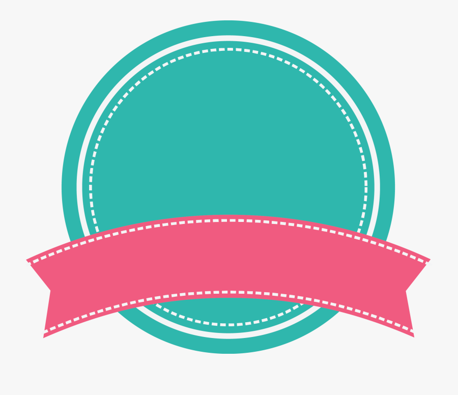 Green Round Badge With Arc Pink Ribbon Banner With - Ribbon Banner Banner Pink, Transparent Clipart