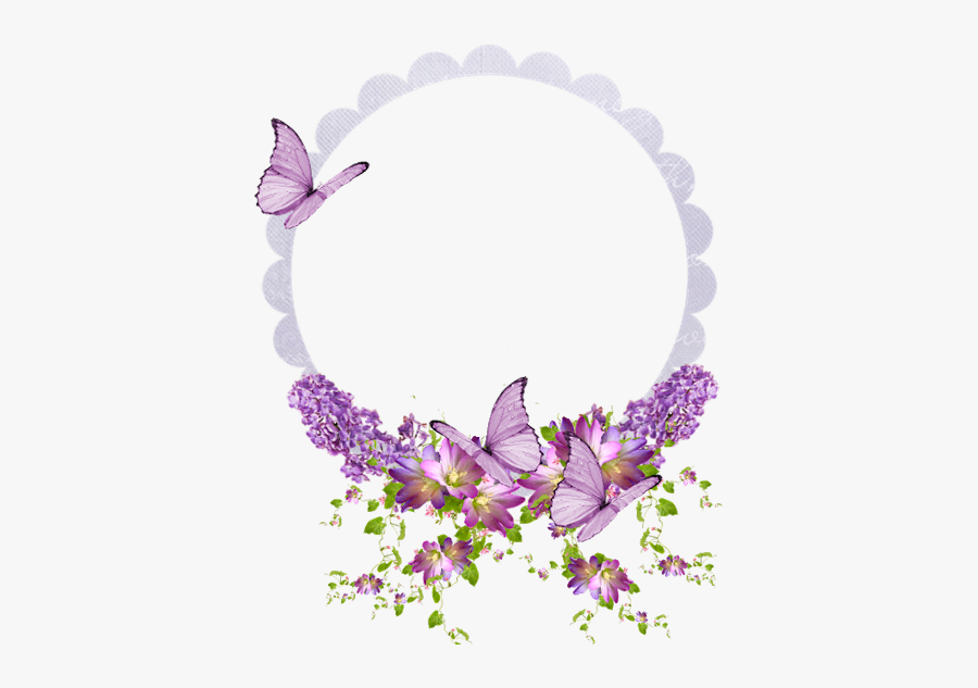 A Little Lavender And Butterflies With Frame - Butterfly Wreath Png, Transparent Clipart