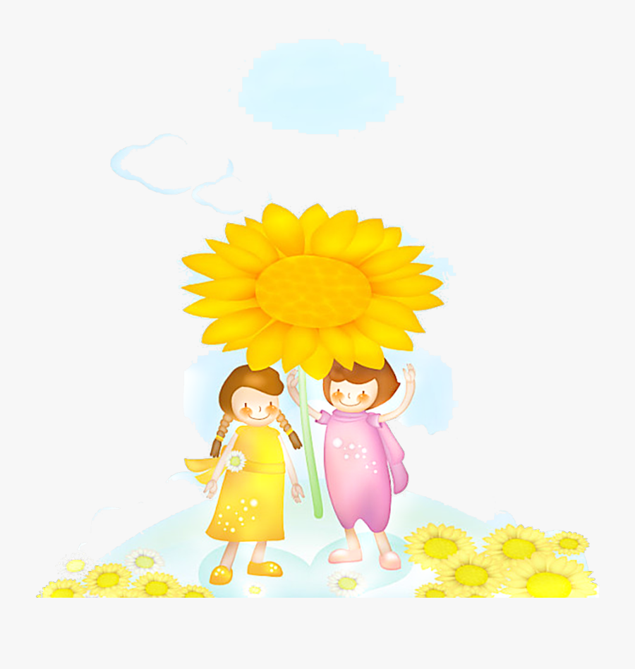 #ftestickers #watercolor #clipart #girls #sunflowers - Illustration, Transparent Clipart