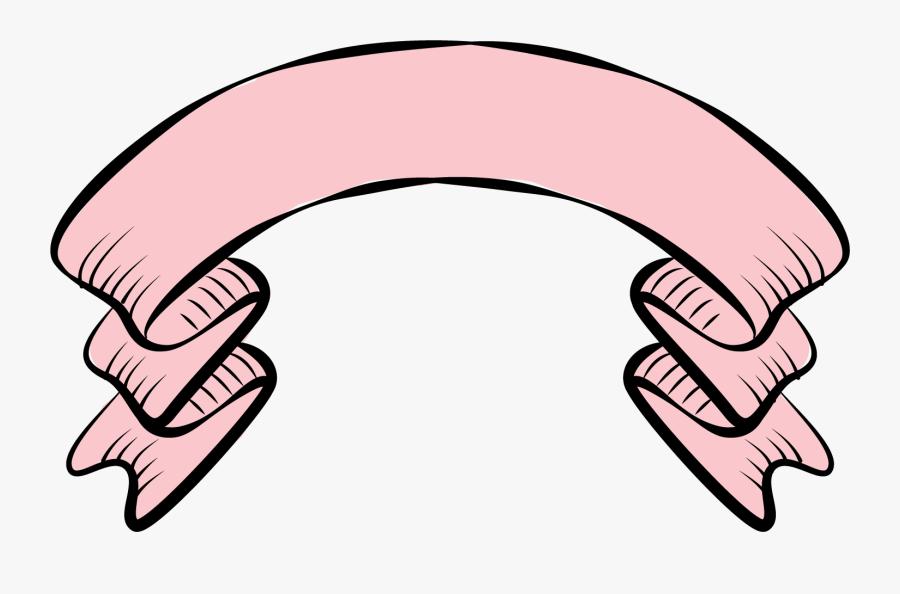 Pink Ribbon Portable Network Graphics Cartoon Adobe - Vintage Pink Banner Png, Transparent Clipart