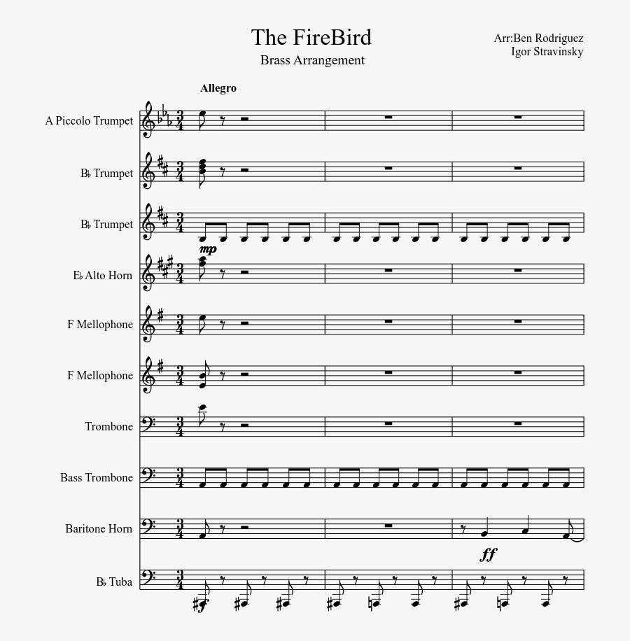 Clip Art Brass Arrangement Sheet Music - Autumn Leaves Violin Sheet Music, Transparent Clipart