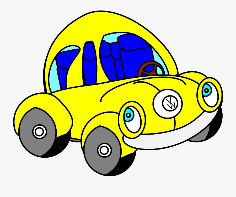 Happy Beatle Clipart, Vector Clip Art Online, Royalty - Cartoon Vw Beetle Yellow, Transparent Clipart
