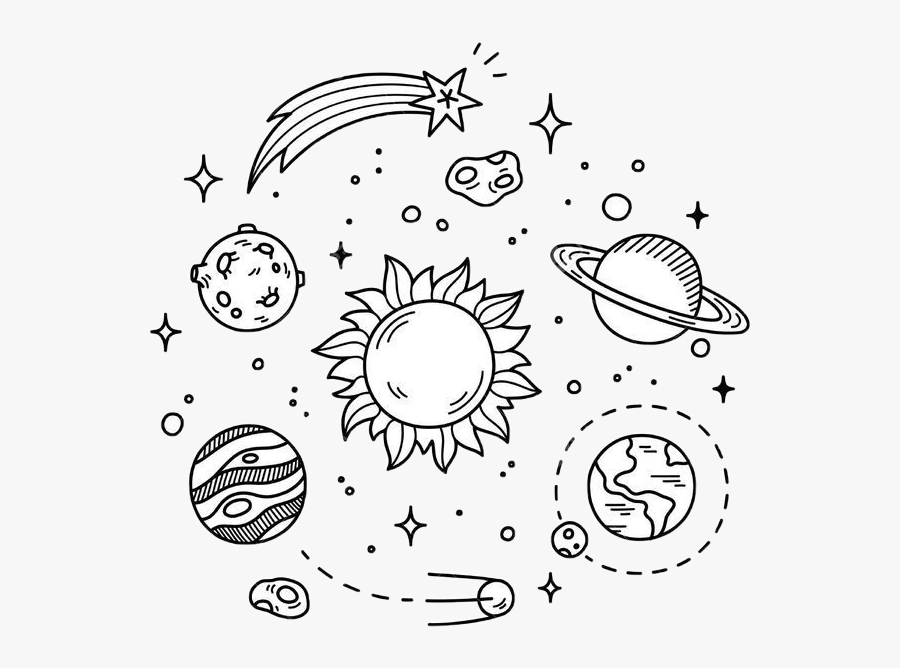 #cute #kawaii #planets #solar #system #stars #galaxy - Black And White Planet Sticker, Transparent Clipart