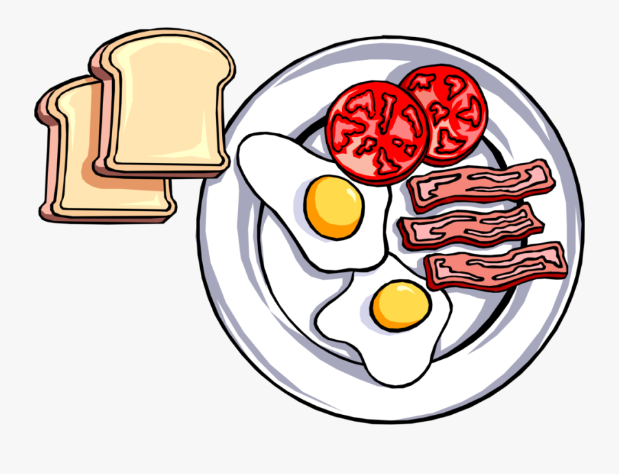 Vector Illustration Of Hearty Breakfast Of Toast, Fried - Breakfast Clipart, Transparent Clipart