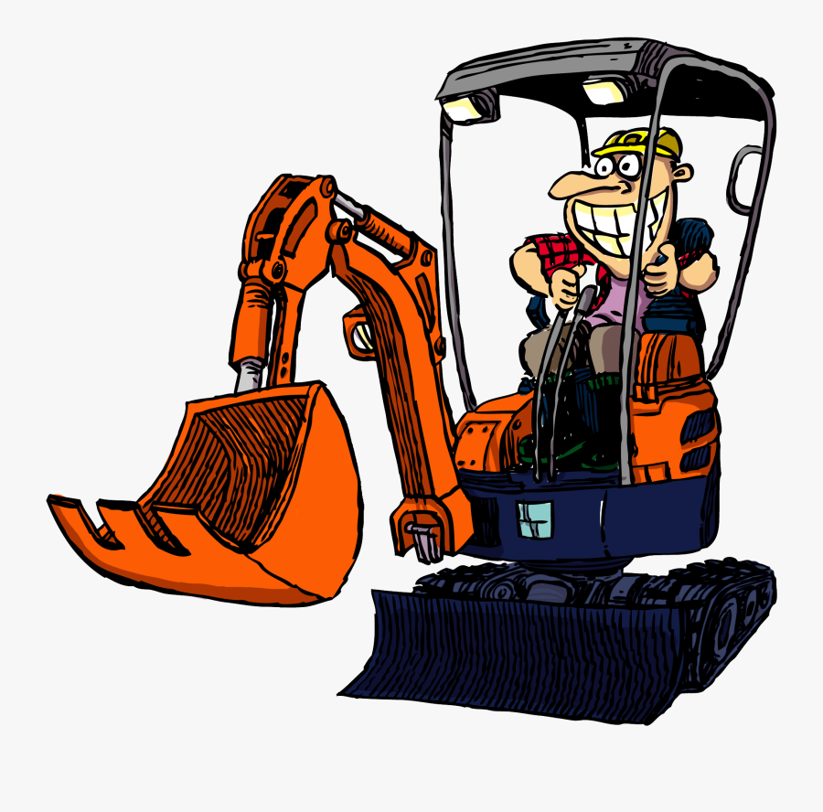 Cartoon Excavator Operator Clipart , Png Download - Cartoon Mini Excavator, Transparent Clipart