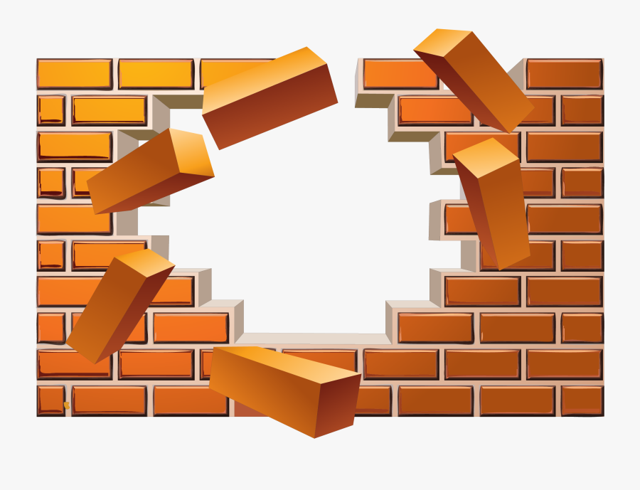 Broken Wall Effect Euclidean Vector Brick Clipart - Broken Brick Wall Illustration, Transparent Clipart
