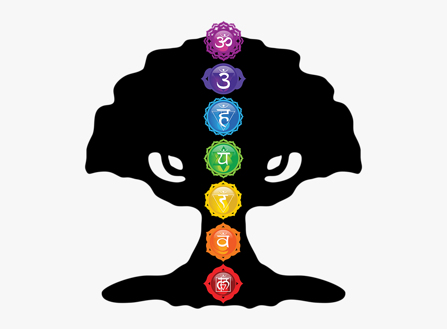 Art Tree Of Life Silhouette With Seven Chakras - Tree Of Life With Seven Chakras, Transparent Clipart