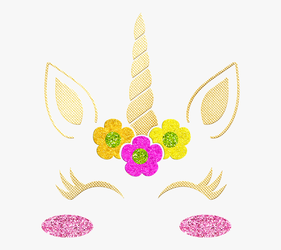 Unicorn Face, Gold Foil Unicorn, Horn, Cute, Fantastic - Unicorn Face Gold Horn, Transparent Clipart