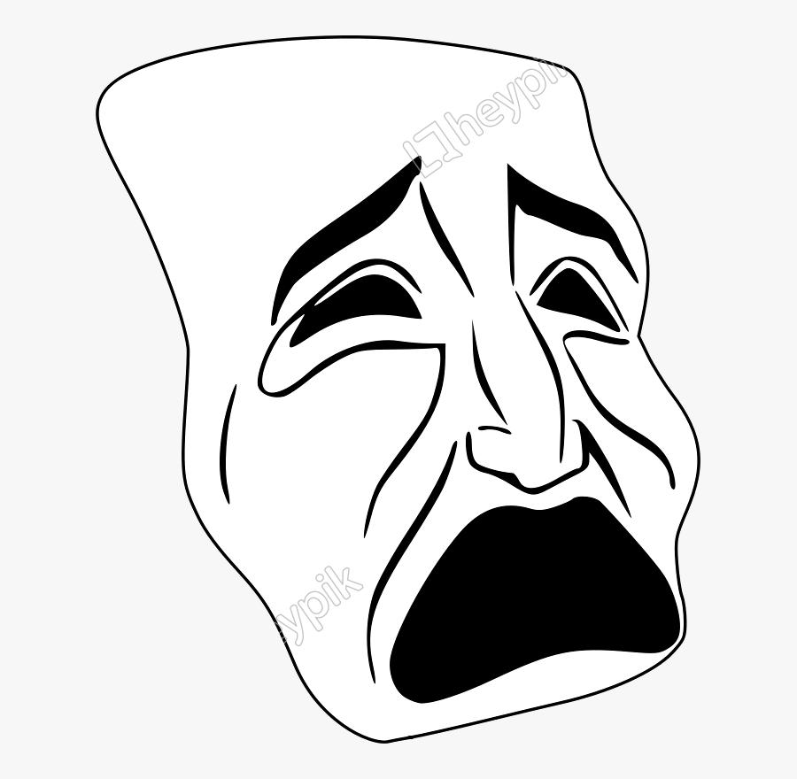 Emotion,art,monochrome Photography - Tragic Mask Clip Art, Transparent Clipart