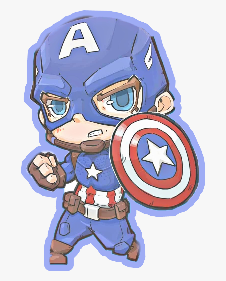 Captain America Chibi Fan Art Sticker - Chibi Avengers Endgame Captain America, Transparent Clipart