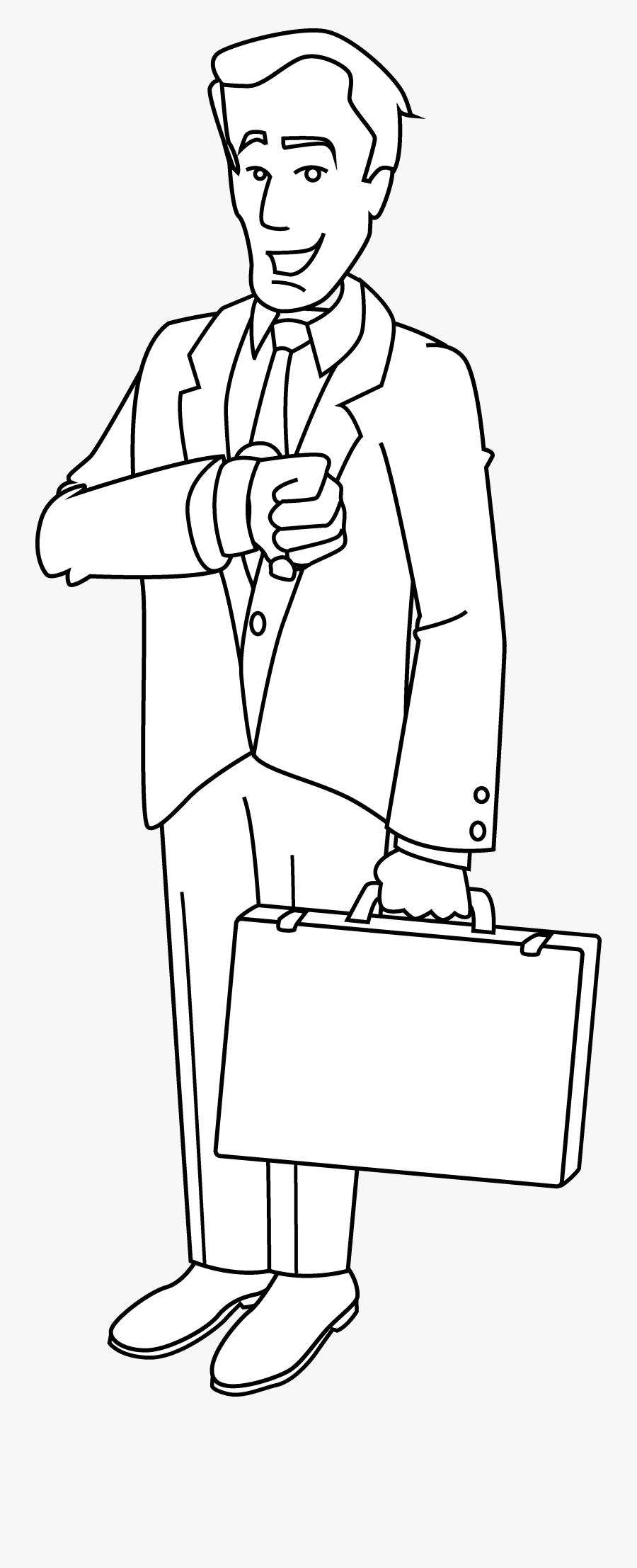Businessman Coloring Page Free Clip Art - Business Man Line Art, Transparent Clipart
