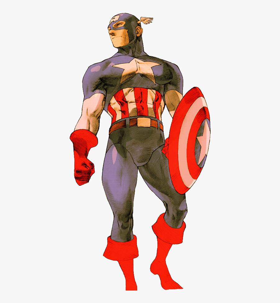 Captain America Clipart Muscular - Marvel Vs Capcom 2 Art, Transparent Clipart