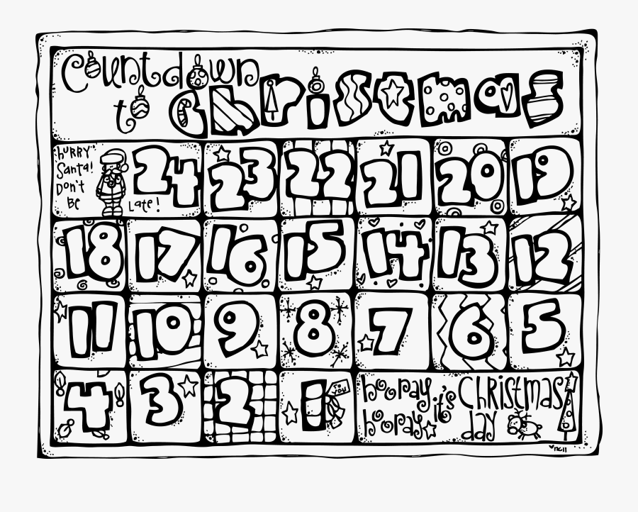 Christmas Countdown Coloring Pages - Christmas Countdown Calendar Colouring, Transparent Clipart