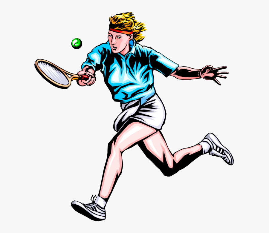 Vector Illustration Of Tennis Player Hits The Ball - Sports Players Vector Png, Transparent Clipart