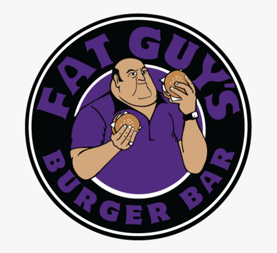 Fat Guy Eating Burger - Fat Guys Burgers Logo, Transparent Clipart
