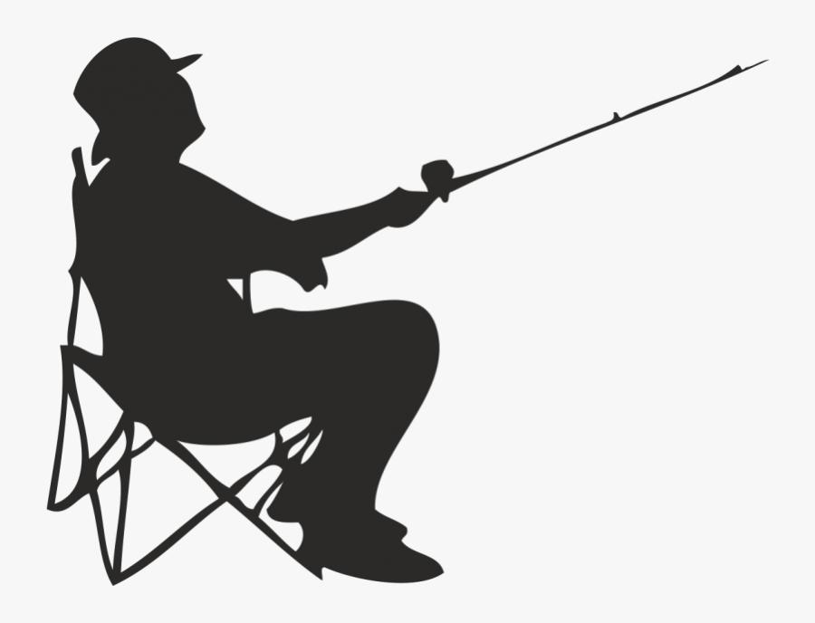 Fisherman Fishing Angling - Silhouette Of Man Fishing, Transparent Clipart