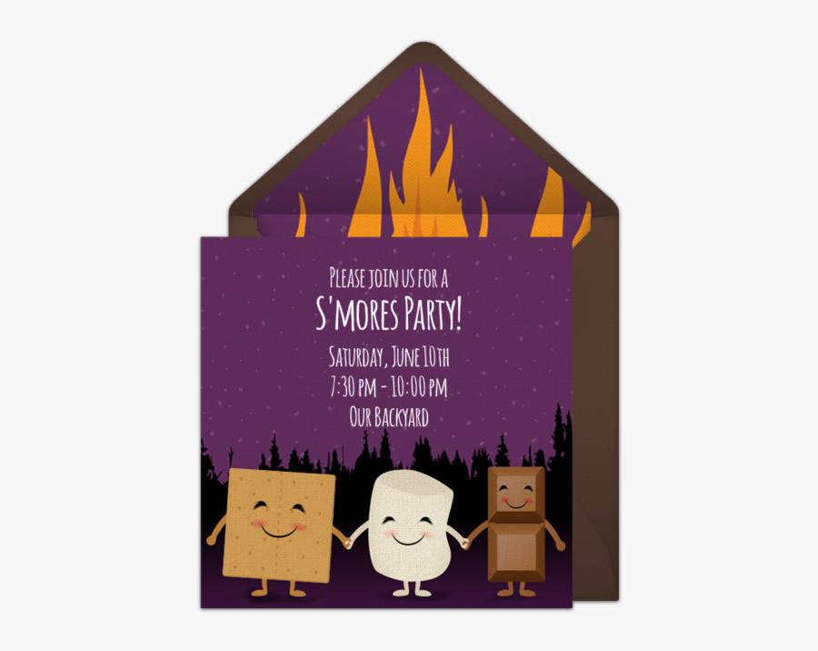 Clip Art Bonfire Party Invite - Online Bonfire Invite Ideas, Transparent Clipart