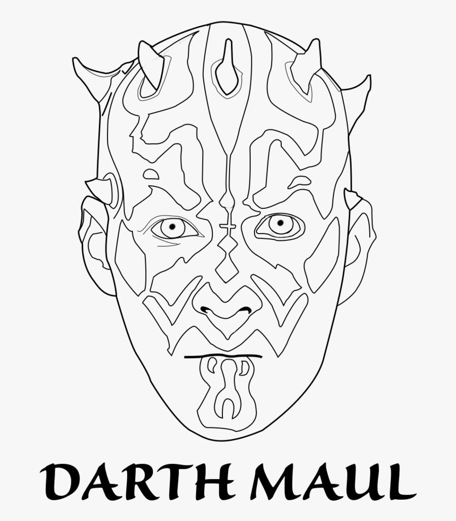 Darth Maul Face Templates Coloring Page - Darth Maul, Transparent Clipart