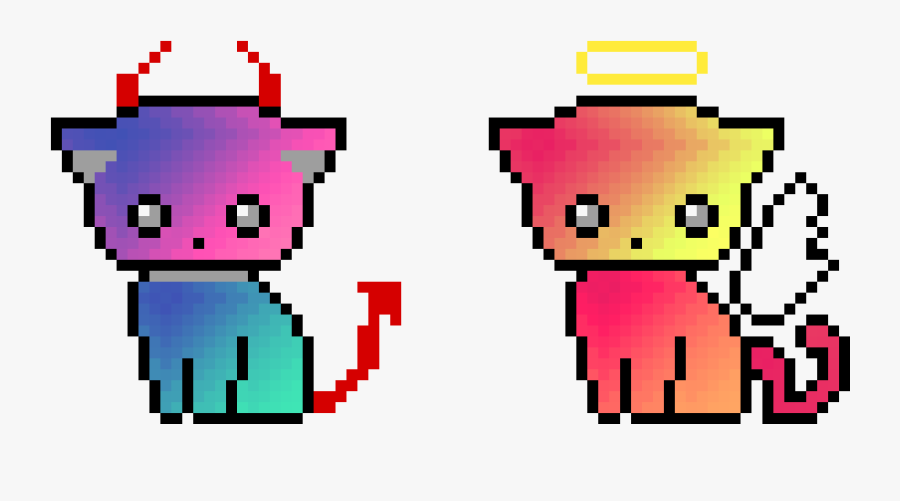 Cute Devil Kitty And Angel Kitty - Pixel Art Cat Easy, Transparent Clipart