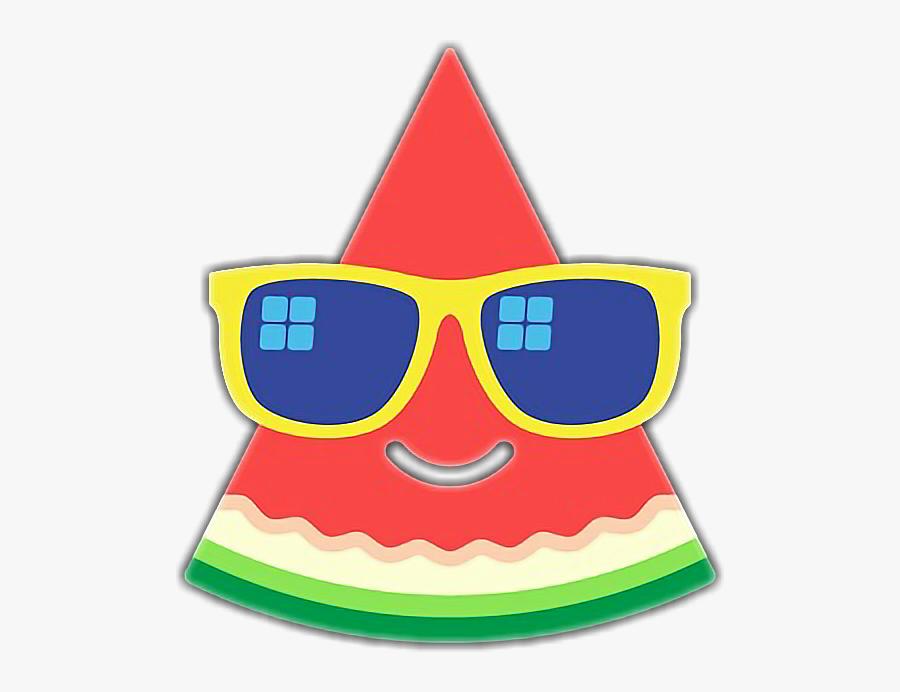 #watermelon #sunny #sunglasses #summer #holiday #funny - Watermelon Emoji Instagram, Transparent Clipart