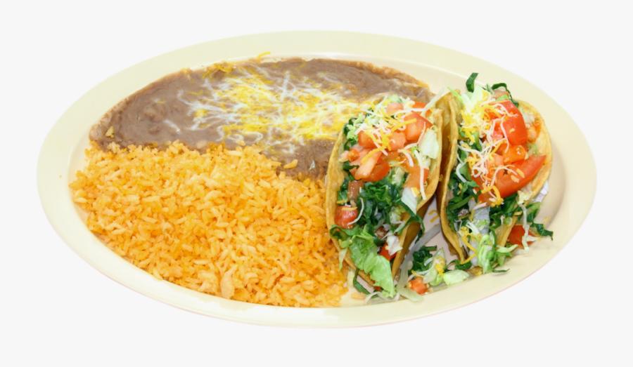 Combination Plates Chile Verde Restaurants Hard Tacos - Saffron Rice, Transparent Clipart