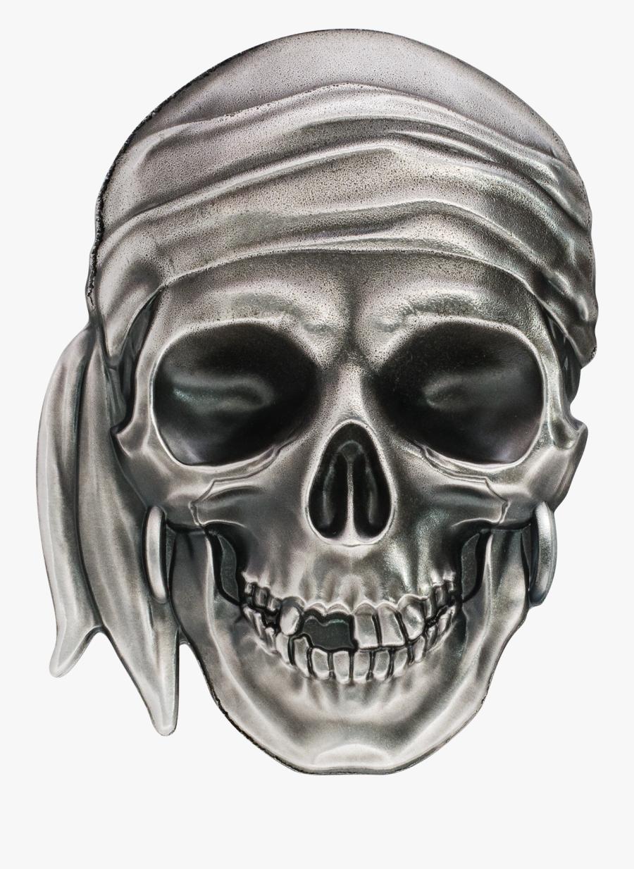 Cash Drawing Sugar Skull - Palau 2017 Pirate Skull Antique Finish Silver Coin, Transparent Clipart