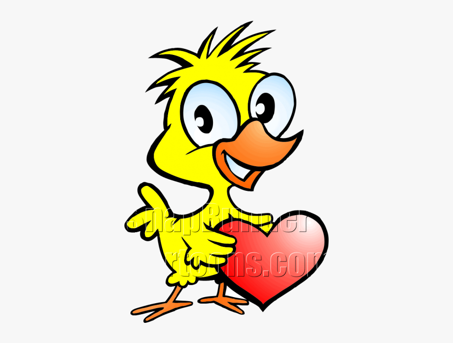 Chicken Holding Heart - Cartoon Characters Holding A Heart, Transparent Clipart