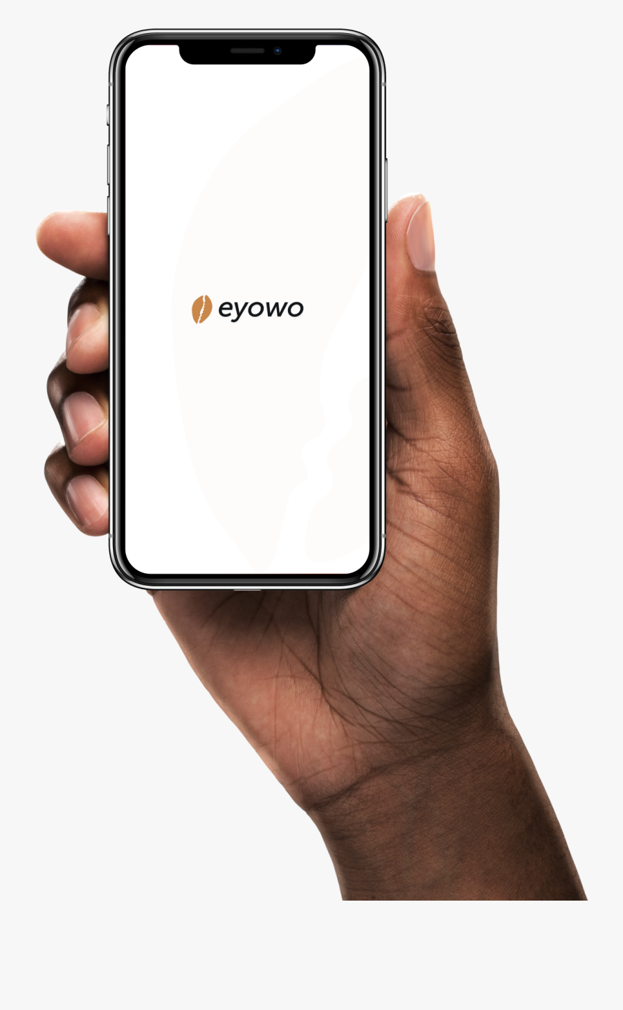 A Hand Holding The Eyowo App - Hand Holding Phone Hd, Transparent Clipart