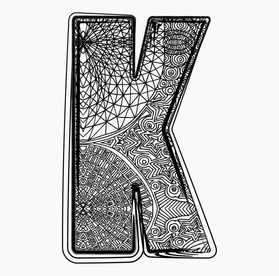 Hard Coloring Pages Letter K, Transparent Clipart