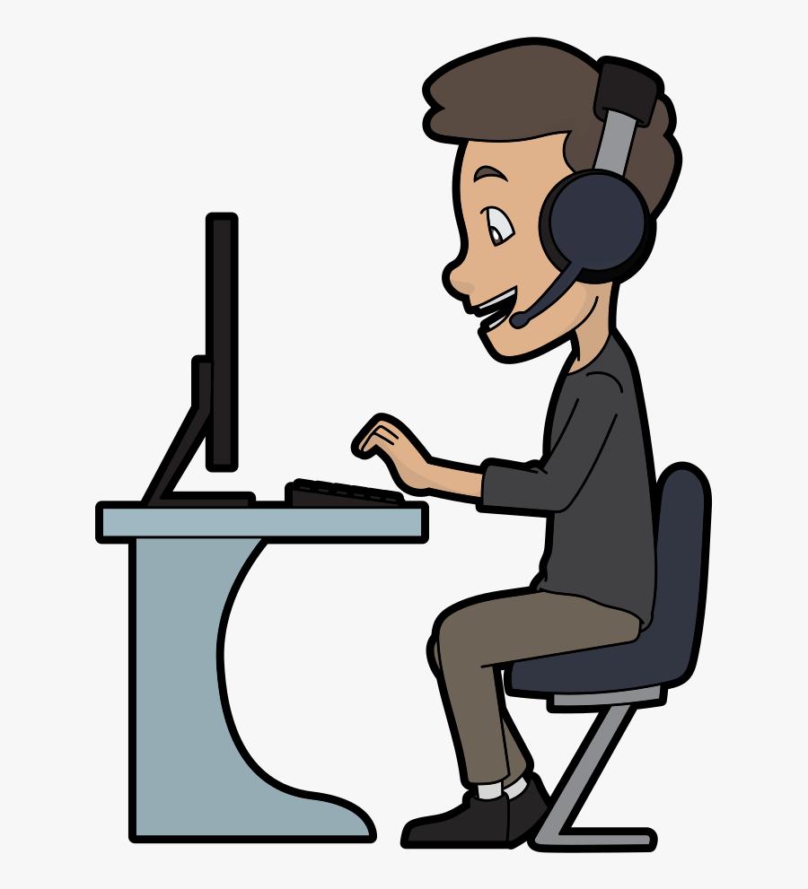 Cartoon Call Centre Guy Using A Computer - Call Center Guy Cartoon, Transparent Clipart