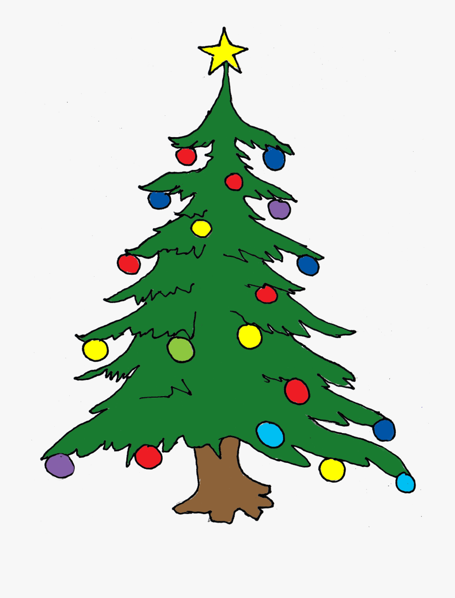 Clipart Of Santa, Oregon And Mas - Christmas Tree In Drawing, Transparent Clipart