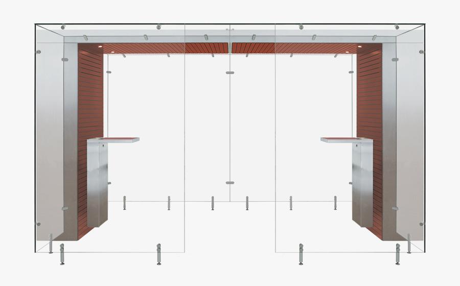 Mahogany And Metal Modular Smoking Area - Smoking Rooms Dimensions, Transparent Clipart