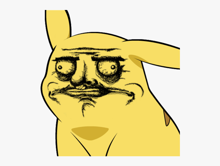 Pikachu Face Yellow Black Facial Expression Black And - Pikachu Meme Face Png, Transparent Clipart