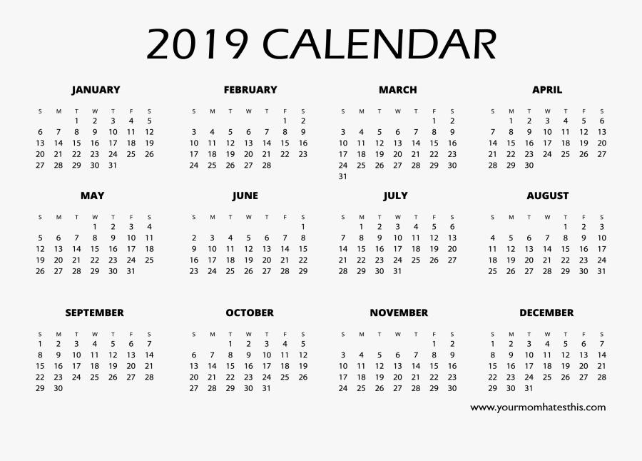 2019 Full Hd Calendar - 2019 Calendar Template Png, Transparent Clipart