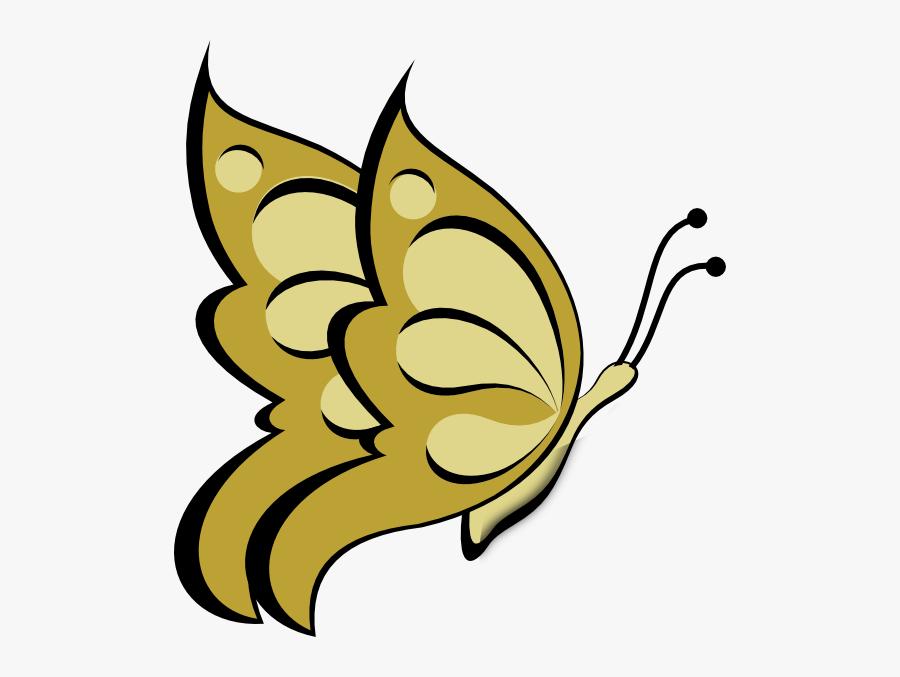 Clip Art Gold Butterfly, Transparent Clipart