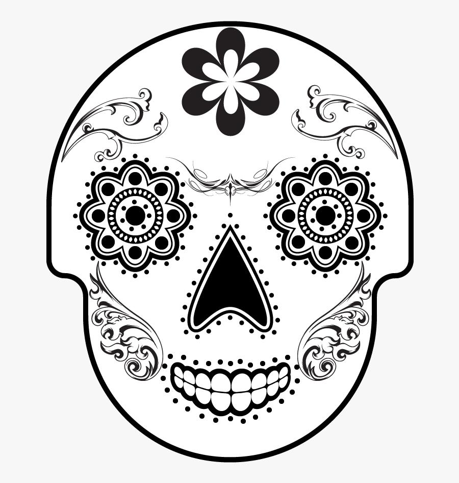 Sugar Skull Clip Art Black And White, Transparent Clipart